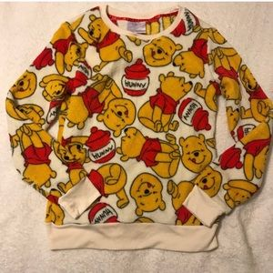 Winnie The Pooh  print long sleeve fleece XS nwot